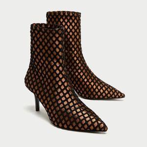 Zara High Heel Mesh Ankle Boots